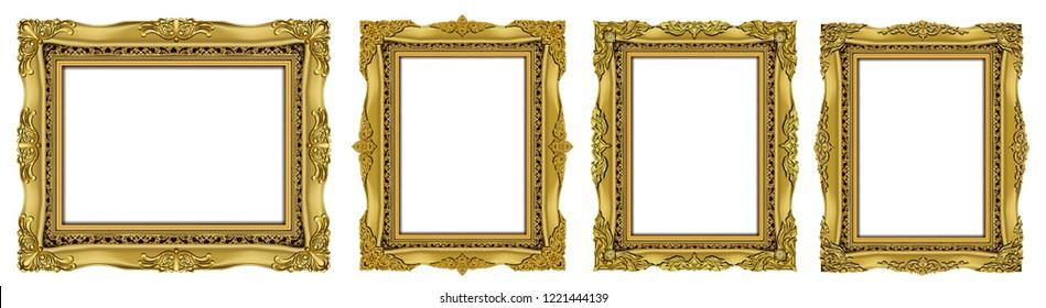 Royal golden invitation frame photo, retro vintage frames set.  Set of Decorative vintage frames and borders set,Oval Gold photo frame with corner Thailand line floral for picture, Vector design