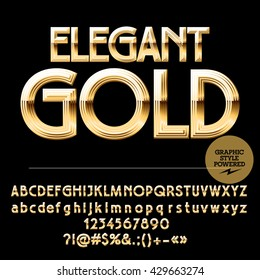 Royal golden set of alphabet letters, numbers and punctuation symbols. Vector luxury logotype with text Elegant gold