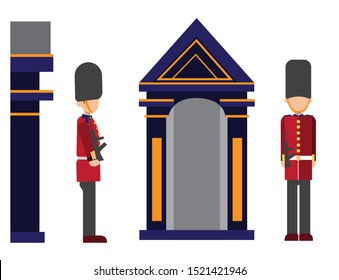 Royal guard of London at a post near the Tower of London, Soldier is dressed in the form of a royal guard. English guard soldier concept illustration icon set.