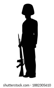 Royal guard soldier silhouette vector, person in black and white.