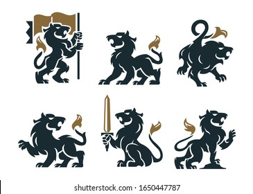 Royal heraldic black and gold griffin set isolated on white