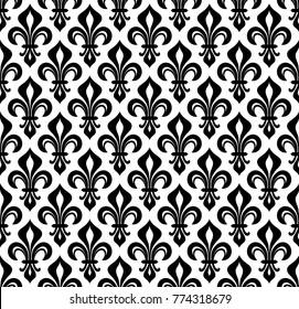 Royal heraldic Lilies (Fleur-de-lis) — wallpaper background, seamless pattern.