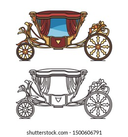 Royal horse chariot for travel or vintage carriage for weddings. Isolated classical marriage waggon or Coach of infant D. Antonio, victorian clarence or medieval brougham, stagecoach,perth-cart