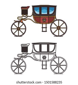 Royal horse chariot for travel or vintage carriage for weddings. Isolated classical marriage waggon or contour of retro buggy, victorian clarence or medieval brougham, outline of stagecoach,perth-cart