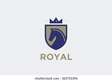 Royal Horse on Shield with Crown Logo design vector template. Equestrian Logotype emblem icon vintage style.