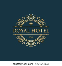 Royal hotel with crown icon luxury logo inspiration in gold metallic color design template