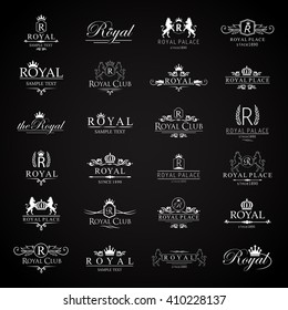 Royal Icons Set-Isolated On Black Background-Vector Illustration,Graphic Design