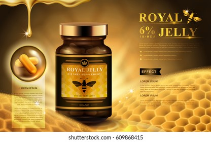 royal jelly ad with capsules, honeycomb, and dropping fluid, golden background 3d illustration