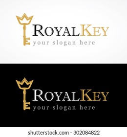 Royal key vector logo. Hotels, real estate agencies, VIP houses, building, architectural, residential companies or constructions business. Illustration of old door key gold colored with crown.