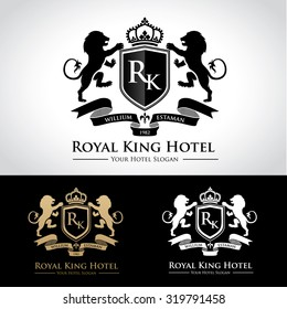 Royal King Hotel luxury logo template with lion and crown