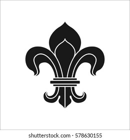 Royal lily or fleur de lis symbol simple silhouette icon on background