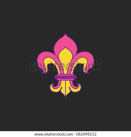 Royal Lily Fleur De Lis Symbol Stock Vector Royalty Free 582698212