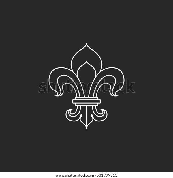 Royal lily or fleur de lis symbol simple line icon on background