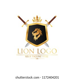 Royal Lion King logo design. Lion Crests logo. King royal symbol, Men Fashion brand identity.