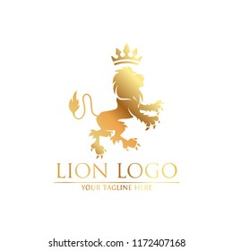 Royal Lion King logo design. Lion Crests logo. King royal symbol, Men Fashion brand identity.