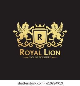 Royal lion logo design template. Element for the brand identity. Vector illustration