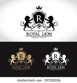 Royal Lion R letter Luxury Logo Template