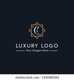 Royal luxurious minimalist elegant sophisticated Initial C letters geometric hexagonal badge logo design with line art style in gold colors