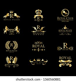 Royal Luxury Classic Logo Set - Isolated On Black Background. Vector Illustration Of Gold Royal Logo, Graphic Design. For Label, Emblem, Seal, Icon Template And App