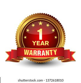 Royal and majestic 1 year warranty. Golden Red combined badge, isolated on white.