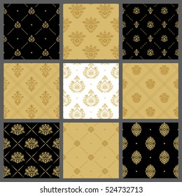 Royal medieval backgrounds, antique wallpaper pattern set. Golden royal pattern, classic tile with golden tracery. Vector illustration
