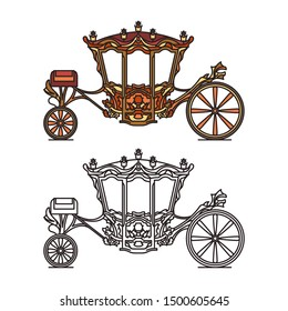 Royal medieval wheel transport or vintage carriage, dormeuse chariot for wedding, buggy for marriage, classic brougham for queen or princess, coach of D. Joao V . Contour icon of waggon.