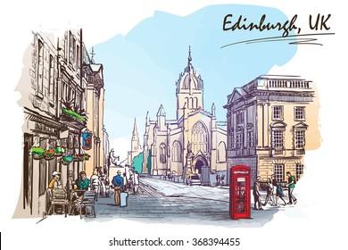 Royal Mile street panorama. Edinburgh, Scotland, the UK. Watercolor imitating painted sketch. EPS10 vector illustration.