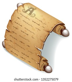 Royal old parchment. Rice paper for message. Icon for computer games and books design. Isometric 3d vector illustration.