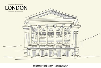 Royal Opera House London. Vector drawing, freehand vintage illustration