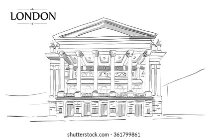 Royal Opera London. Vector drawing, freehand vintage illustration
