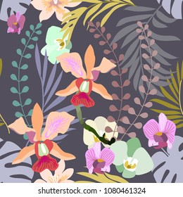 Royal orchids bloom. Seamless botanical pattern with tropical flowers and palm leaves. Trendy design for textile, cards and invitations. On grey background.