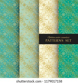 Royal ornate vector seamless paterns collection. Oriental gold, blue and mint green backgrounds set. Elegant textures for wallpapers, home textiles and decor
