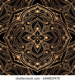 Royal pattern seamless vector. Gold black mandala luxury background. Islamic for holiday party, New Year wrapping paper, Christmas wallpaper, beauty spa salon, wedding invitation.
