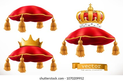 Royal pillow and crown. 3d vector icon set