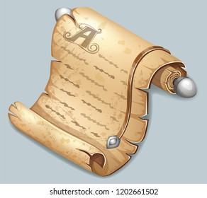 Royal scroll decorated with leather belt and silver elements. Reward message on parchment. Isometric vector illustration for computer games and books design.