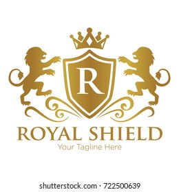 Royal Shield and Lion Logo Vector Template
