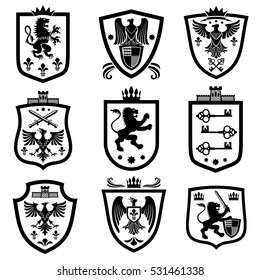 Royal shields, nobility heraldry coat of arms vector set