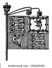 The Royal Standard is a flag of Great Britain, it is divided into four quadrants, lower left has the harp, left top has 3 lions, right top has lion verticle lion figure, lower right has 3 lions