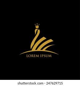 Royal swan symbol - vector illustration