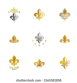 Royal symbols Lily Flowers emblems set. Heraldic vector design elements collection. Retro style label, heraldry logo.
