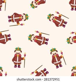 Royal theme king , cartoon seamless pattern background