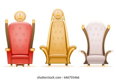 Royal throne king ruler fairytale armchair cartoon 3d icons isolated set vector illustration