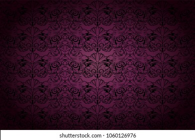 Royal, vintage, Gothic background in dark purple and black with classic Baroque, Rococo ornaments