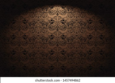 Royal, vintage, Gothic horizontal background in gold, bronze, caramel, chocolate with a classic Baroque pattern, Rococo.With dimming at the edges. Vector illustration EPS 10