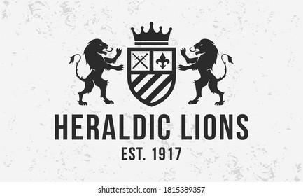 Royal vintage logo. Heraldic crest  template logo with standing lions . Modern design poster. Label, badge, emblem for Coat of Arms, Vintage Crest, Luxury logo. Vector illustration