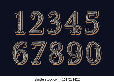Royal vintage numbers in victorian classic style.