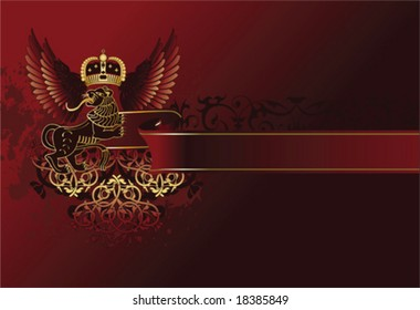 Royal vintage vector illustration with crown and lion.