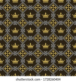 Royal wallpaper seamless pattern on a black background. Vector graphics.