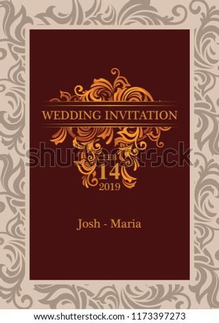 Royal Wedding Invitation Card Stock Vector Royalty Free 1173397273