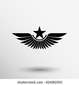 Royal Wing award abstract icon logo vector.